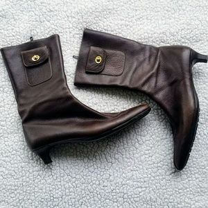 Coach Brown Leather Pointed Toe Boots